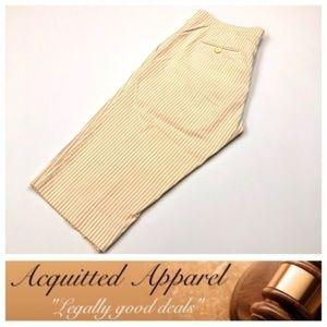Piazza Sempione Tan Seersucker Striped Shorts